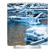 Icy Blue River Shower Curtain