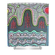 Ilwolobongdo Abstract Landscape Painting Shower Curtain