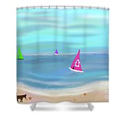 In The Pink - Sailing In Tropical Waters Shower Curtain