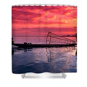 Inle Lake Fisherman Shower Curtain