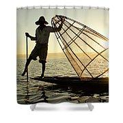 Inle Lake Fisherman Shower Curtain