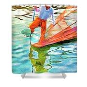 Inle Lake Leg-rower Shower Curtain