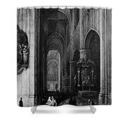 Interior Of A Gothic Church At Night Shower Curtain
