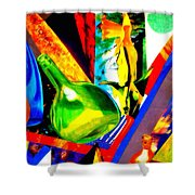Intersections Abstract Collage Shower Curtain