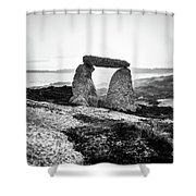 Inukshuk At Sunset, Terence Bay, Nova Scotia Shower Curtain