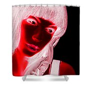 Inverted Realities - Red  Shower Curtain