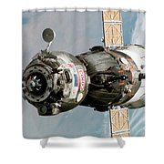 Iss Expedition 11 Crew Arriving Shower Curtain by NASA / Science Source