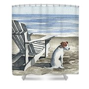 Jack Russel Terrier At The Beach Shower Curtain