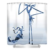 Jack With Zero-blue Shower Curtain