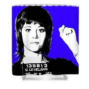 Jane Fonda Mug Shot - Blue Shower Curtain
