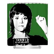 Jane Fonda Mug Shot - Green Shower Curtain