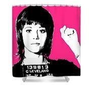 Jane Fonda Mug Shot - Pink Shower Curtain