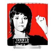 Jane Fonda Mug Shot - Red Shower Curtain