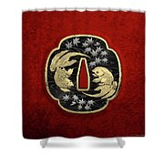 Japanese Katana Tsuba - Twin Gold Fish On Black Steel Over Red Velvet Shower Curtain