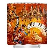 Jazz City Shower Curtain by Mark Kazav