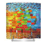 Jerusalem Wailing Wall Original Acrylic Palette Knife Painting Shower Curtain