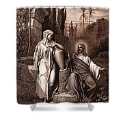 Jesus And The Woman Of Samaria Shower Curtain