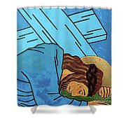 Jesus Falls Shower Curtain