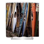 Kayaks Lined Up On Wall Shower Curtain