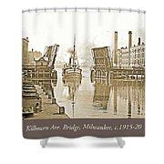 Kilbourn Avenue Bridge, Milwaukee, Wisconsin, 1915-1920, Vintage Shower Curtain
