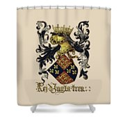 King Of England Coat Of Arms - Livro Do Armeiro-mor Shower Curtain by Serge Averbukh