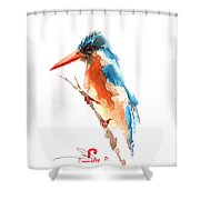 Kingfisher Bird Shower Curtain