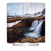 Kirkjufellsfoss Waterfalls Iceland Shower Curtain