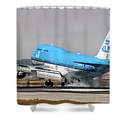 Klm Royal Dutch Airlines Boeing 747 Airplane Landing At San Francisco Airport In San Francisco, Cali Shower Curtain