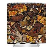 Krumau - Crescent Of Houses Shower Curtain