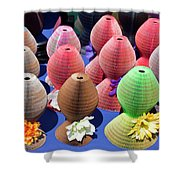 Ladies Collapsible Straw Hats At The Cove Marketplace At Port Ca Shower Curtain