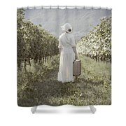 Lady In Vineyard Shower Curtain