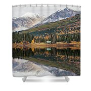 Lake Cabins In Fall Shower Curtain