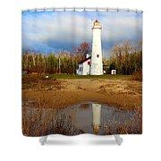 Lake Huron Lighthouse Shower Curtain