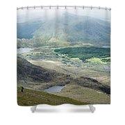 Landscape View Of Llyn Cwellyn And Moel Cynghorion In Snowdonia  Shower Curtain