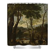 Landscape With A Cowherd Shower Curtain