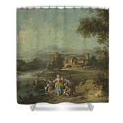 Landscape With A Group Of Figures Fishing Shower Curtain