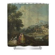 Landscape With A Group Of Figures Shower Curtain