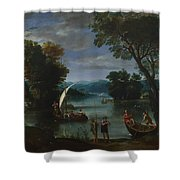 Landscape With A River And Boats Shower Curtain