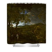 Landscape With Elijah And The Angel Shower Curtain