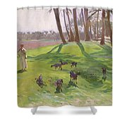 Landscape With Goatherd Shower Curtain
