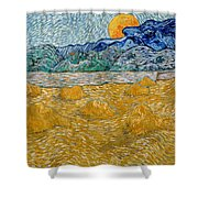 Landscape With Wheat Sheaves And Rising Moon Shower Curtain