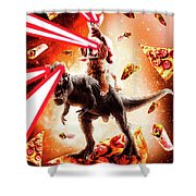 Laser Eyes Space Cat Riding Dog And Dinosaur Shower Curtain
