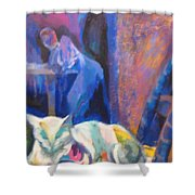 Le Chat Blanc Shower Curtain