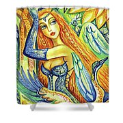 Fairy Leda And The Swan Shower Curtain