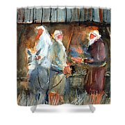 Liberty - At The Manger Shower Curtain