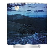 Light On Stone Mountain Slope With Forest At Night Shower Curtain