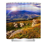 Light On Stone Mountain Slope With Forest Shower Curtain