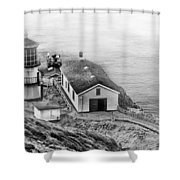 Lighthouse On The Point Shower Curtain