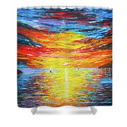 Lighthouse Sunset Ocean View Palette Knife Original Painting Shower Curtain