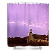 Lightning Bolts Over Spring Valley Country Church Shower Curtain